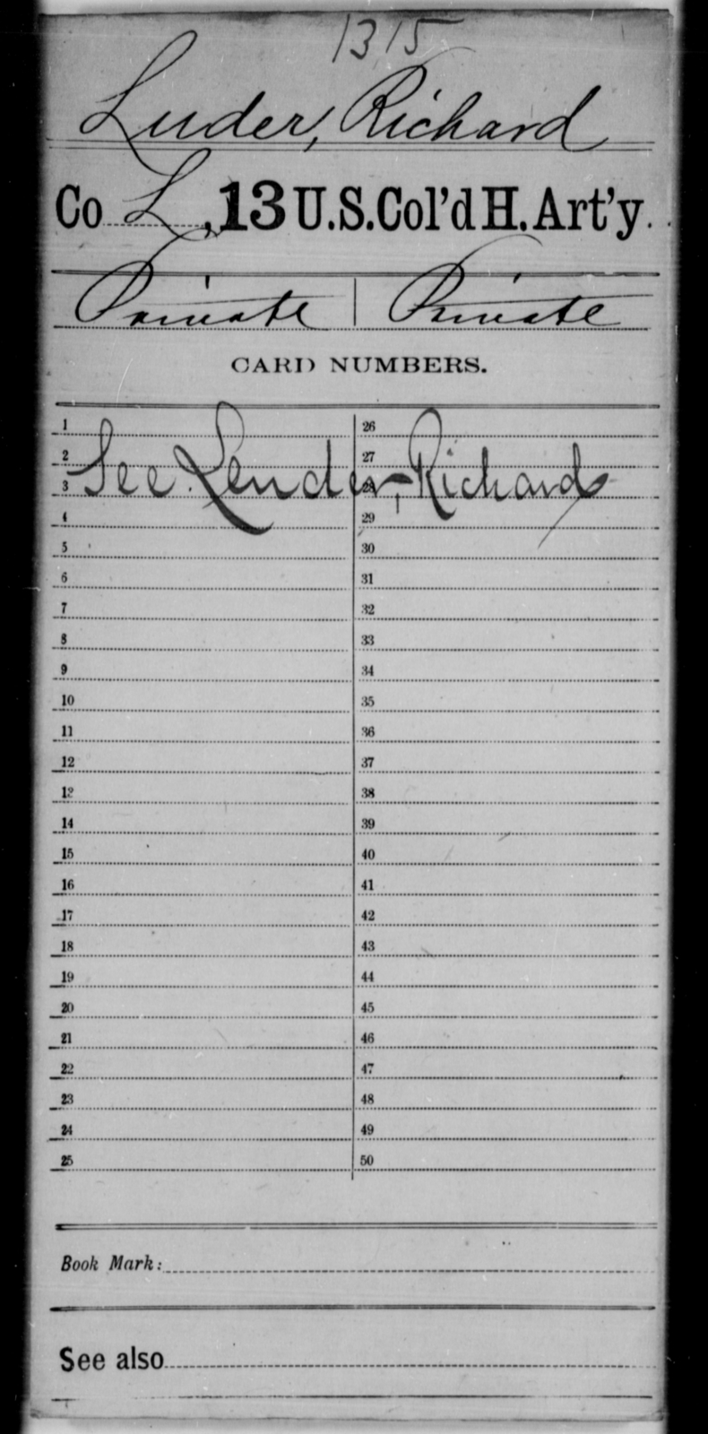 Luder, Richard - Age [Blank], Year: [Blank] - 13th US Colored Heavy Artillery - United States Colored Troops: Artillery Organizations