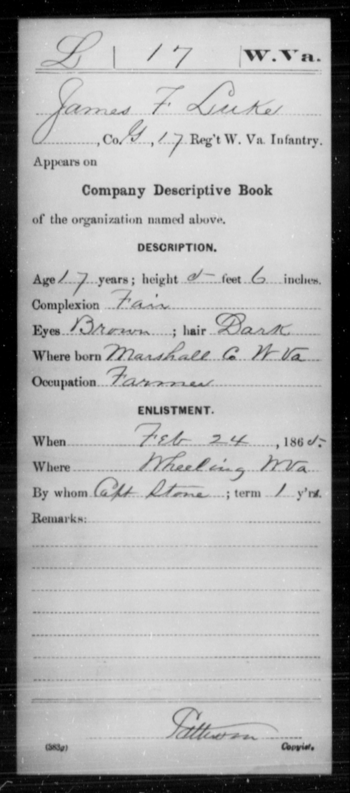 Luke, James F - Age 17, Year: 1865 - Miscellaneous Card Abstracts of Records - West Virginia