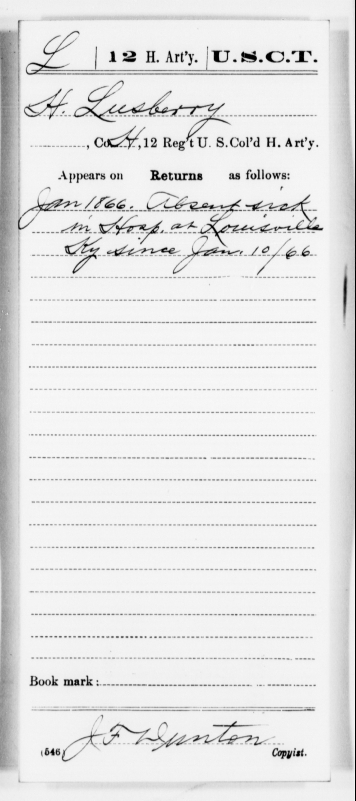 Lusberry, H - Age [Blank], Year: [Blank] - 12th US Colored Heavy Artillery, Misc Cards, H-Y - United States Colored Troops: Artillery Organizations