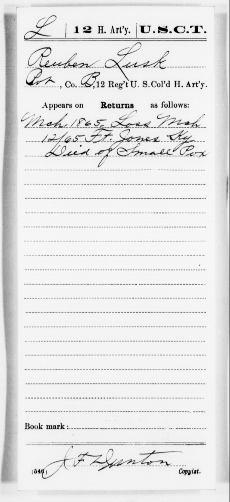 Lusk, Reuben - Age [Blank], Year: 1865 - 12th US Colored Heavy Artillery, Misc Cards, H-Y - United States Colored Troops: Artillery Organizations
