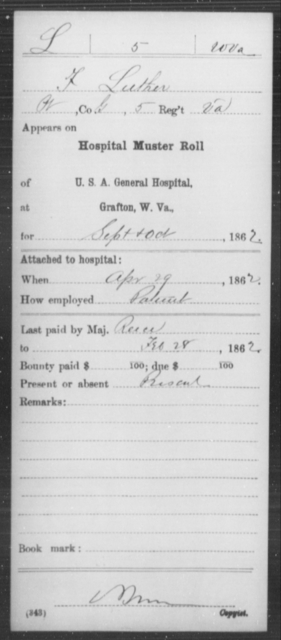 Luther, F - Age [Blank], Year: 1862 - Miscellaneous Card Abstracts of Records - West Virginia