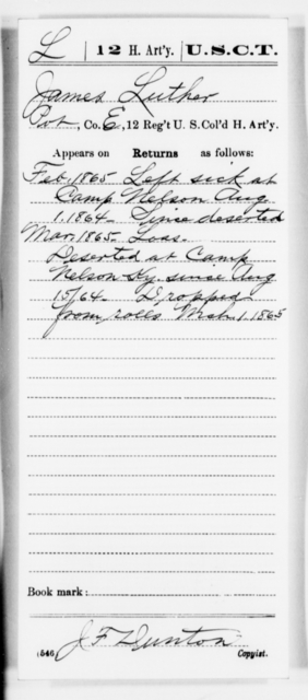 Luther, James - Age [Blank], Year: 1865 - 12th US Colored Heavy Artillery, Misc Cards, H-Y - United States Colored Troops: Artillery Organizations
