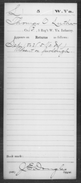 Luther, Thomas O - Age [Blank], Year: 1863 - Miscellaneous Card Abstracts of Records - West Virginia