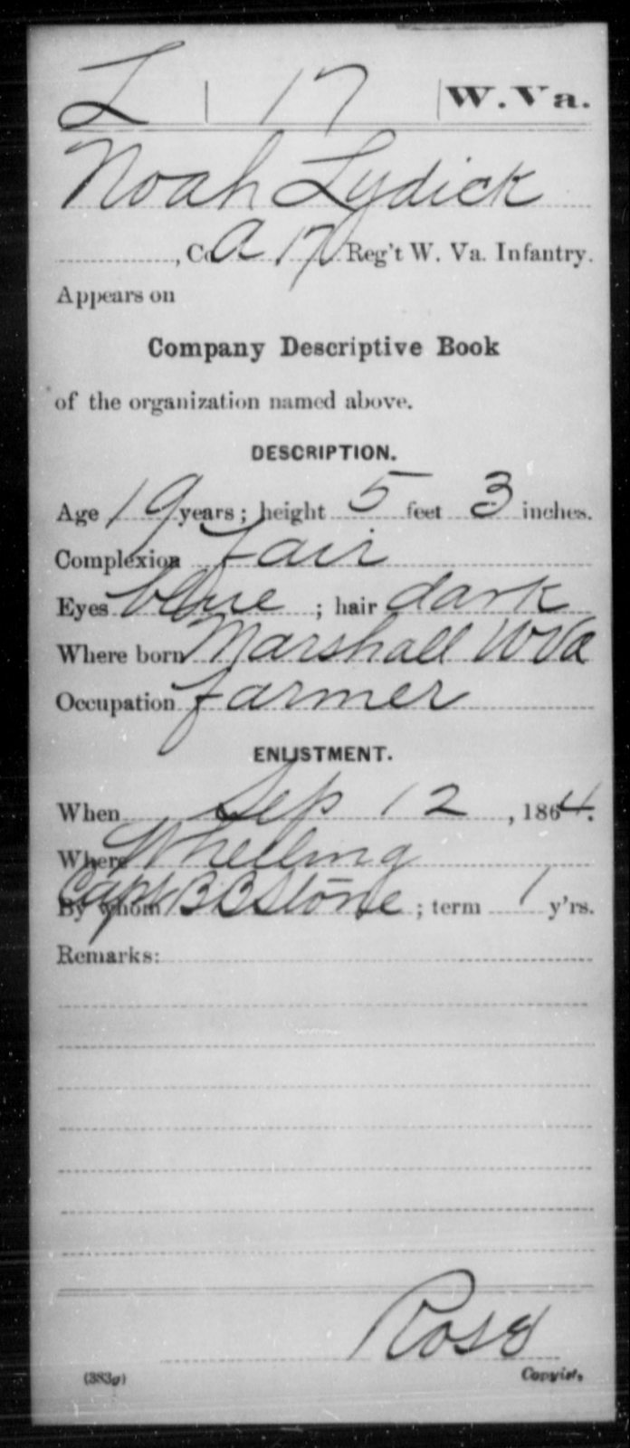 Lydick, Noah - Age 19, Year: 1864 - Miscellaneous Card Abstracts of Records - West Virginia