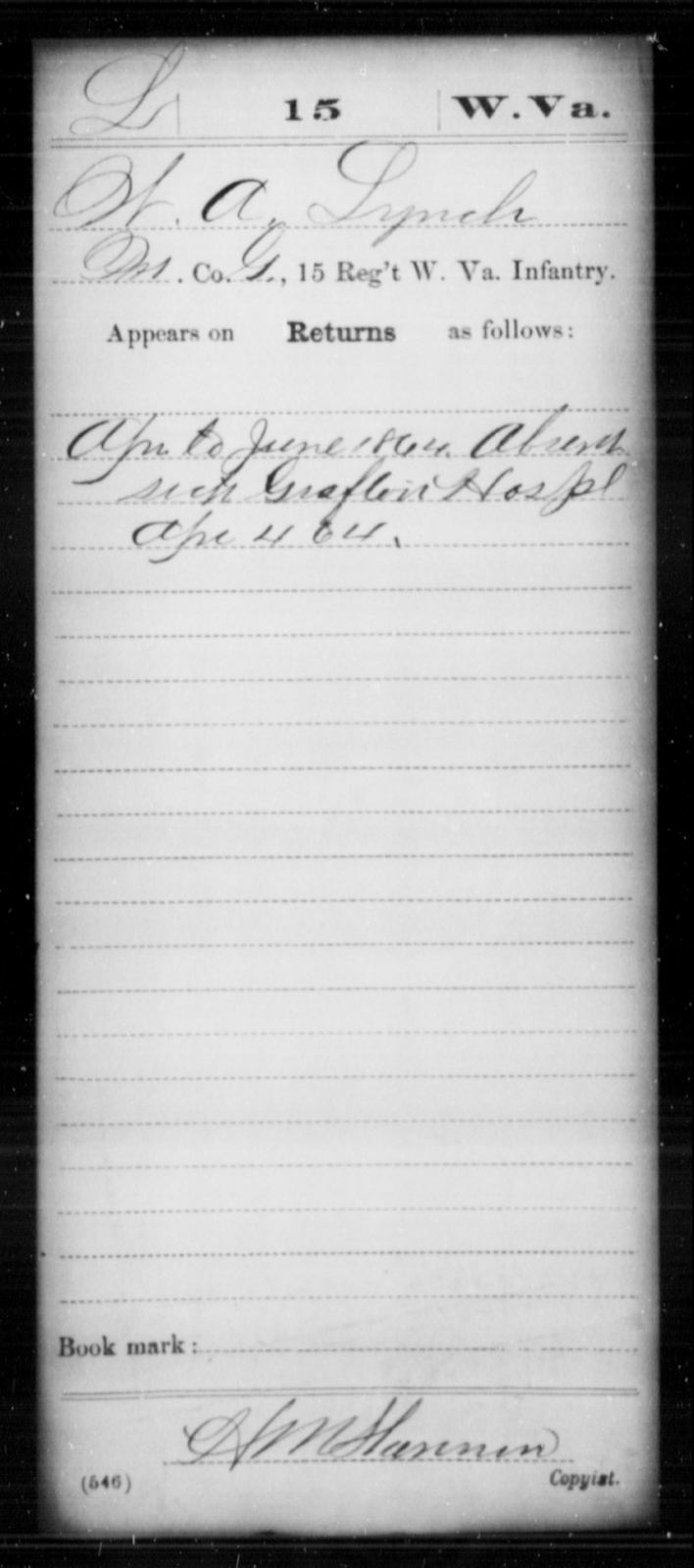 Lynch, W A - Age [Blank], Year: 1864 - Miscellaneous Card Abstracts of Records - West Virginia