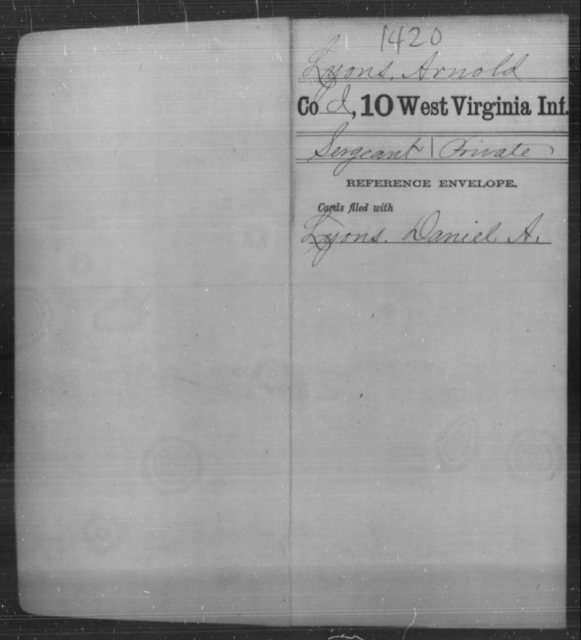 Lyons, Arnold - Age [Blank], Year: [Blank] - Tenth Infantry - West Virginia