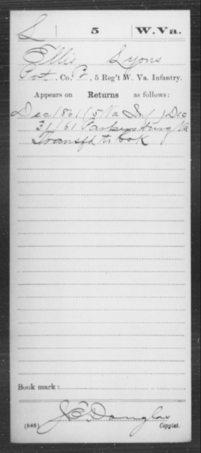 Lyons, Ellis - Age [Blank], Year: 1861 - Miscellaneous Card Abstracts of Records - West Virginia
