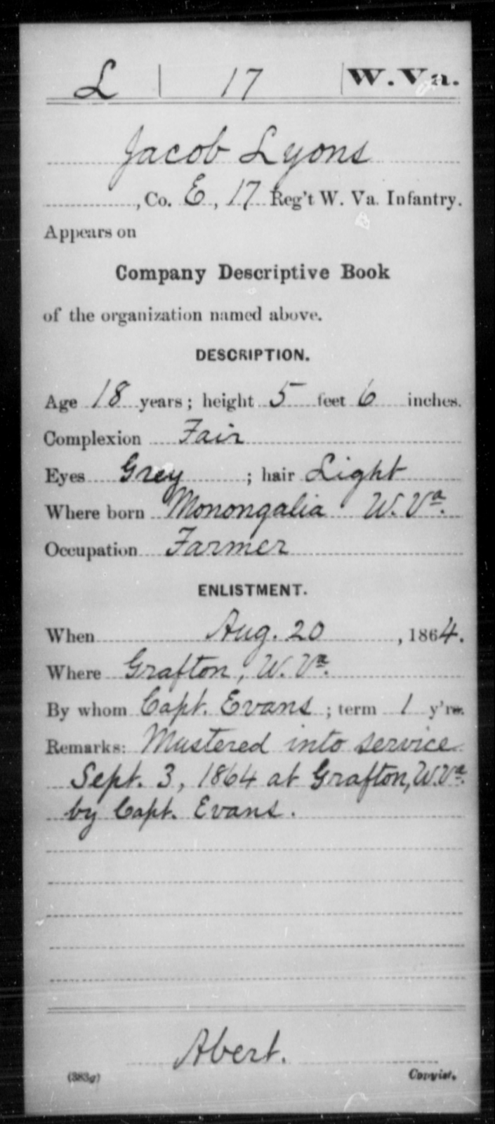 Lyons, Jacob - Age 18, Year: 1864 - Miscellaneous Card Abstracts of Records - West Virginia