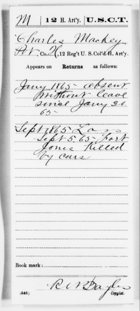 Mackey, Charles - Age [Blank], Year: 1865 - 12th US Colored Heavy Artillery, Misc Cards, H-Y - United States Colored Troops: Artillery Organizations