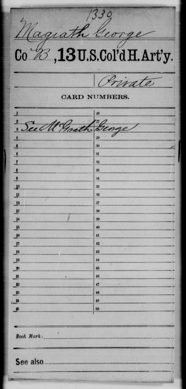 Magiath, George - Age [Blank], Year: [Blank] - 13th US Colored Heavy Artillery - United States Colored Troops: Artillery Organizations