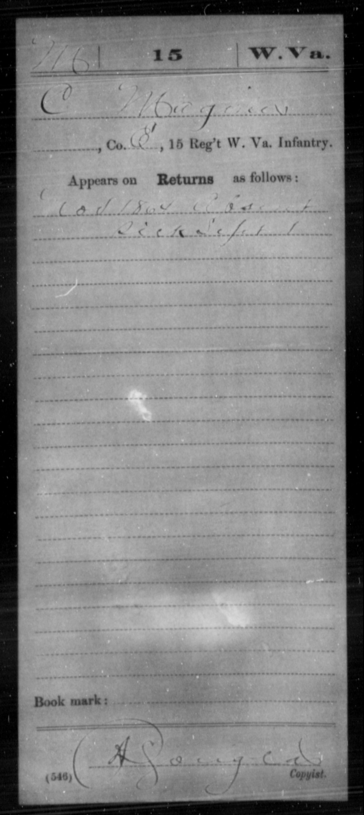 Maginer, C - Age [Blank], Year: 1864 - Miscellaneous Card Abstracts of Records - West Virginia