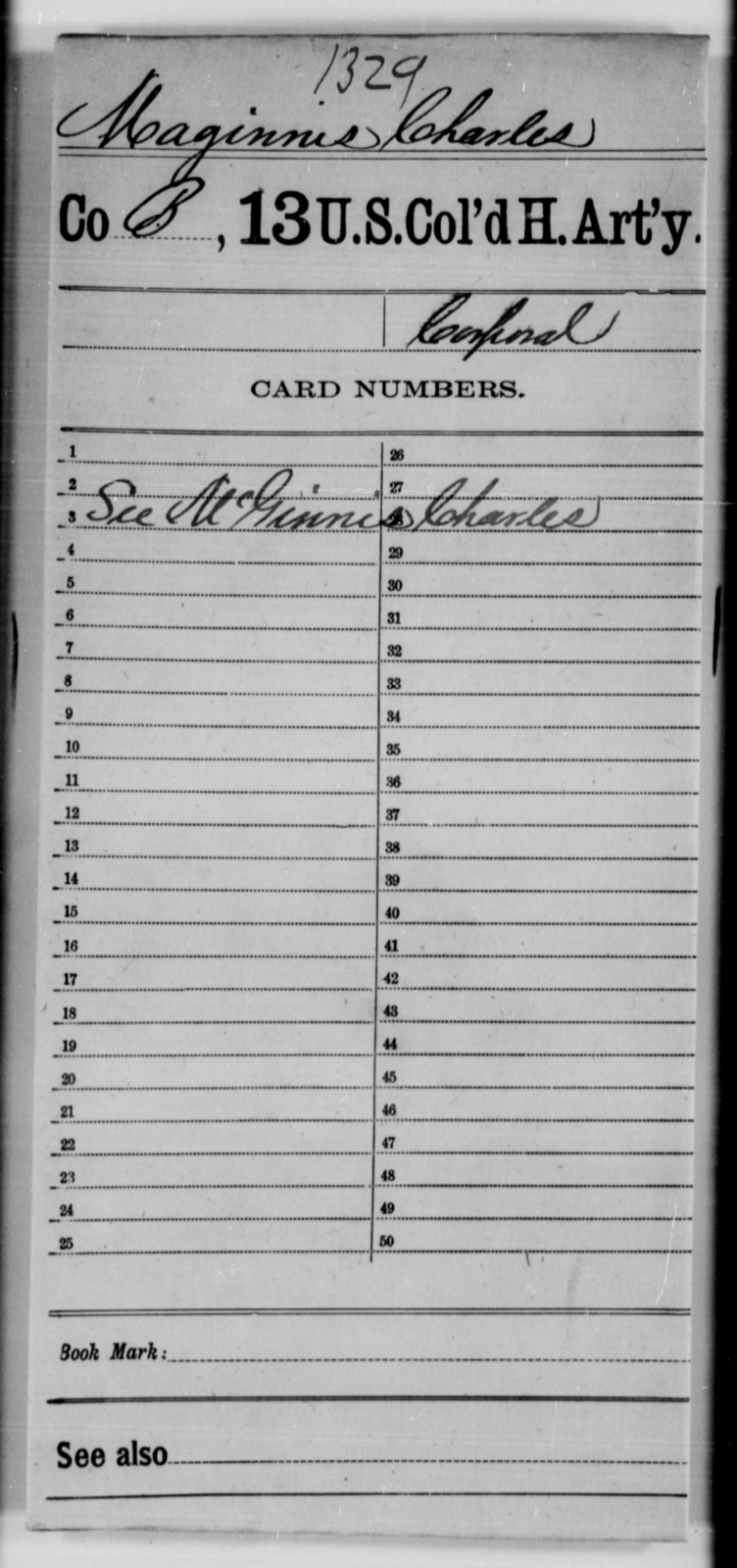 Maginnis, Charles - Age [Blank], Year: [Blank] - 13th US Colored Heavy Artillery - United States Colored Troops: Artillery Organizations