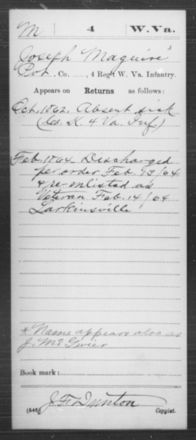 Maguire, Joseph - Age [Blank], Year: 1862 - Miscellaneous Card Abstracts of Records - West Virginia
