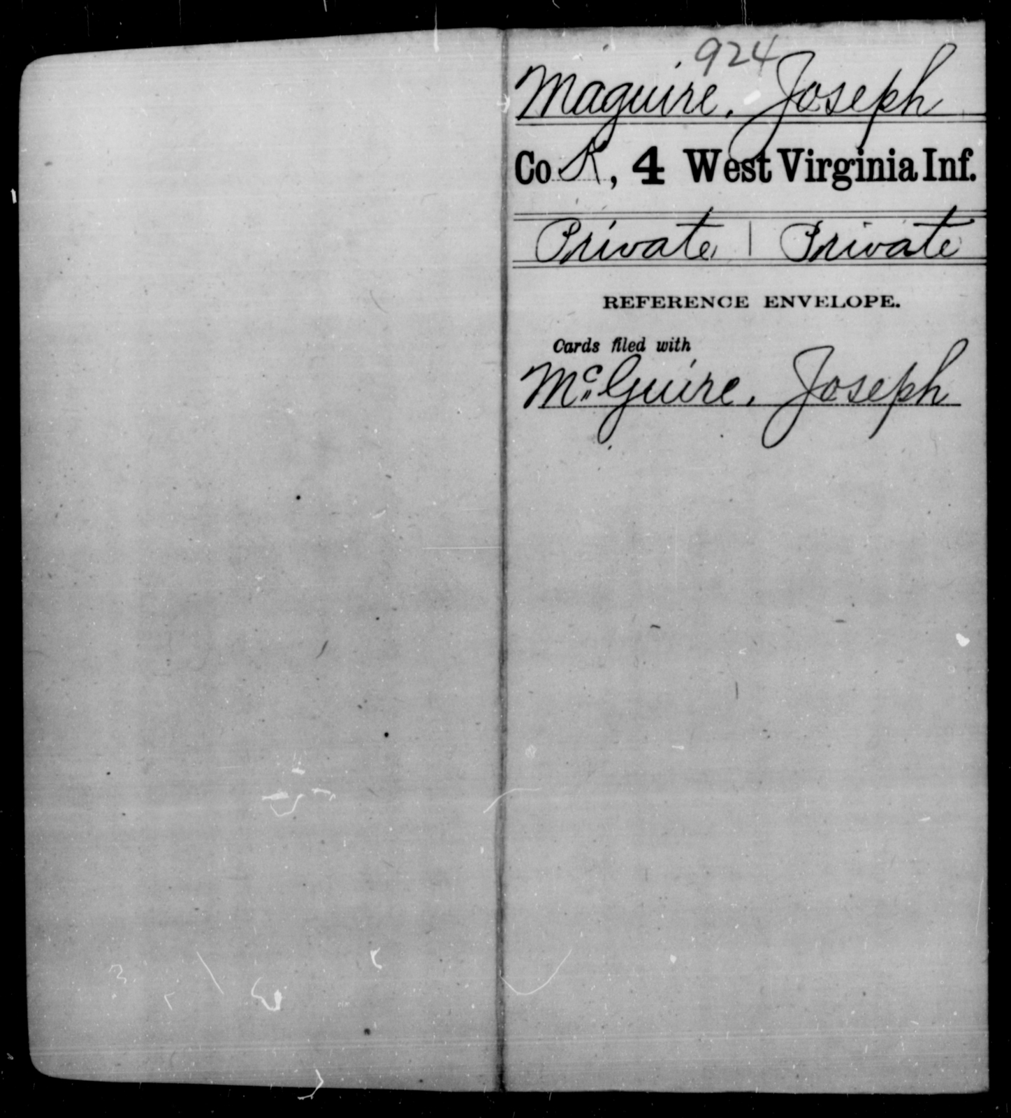 Maguire, Joseph - Age [Blank], Year: [Blank] - Fourth Infantry, Bo-Z - West Virginia