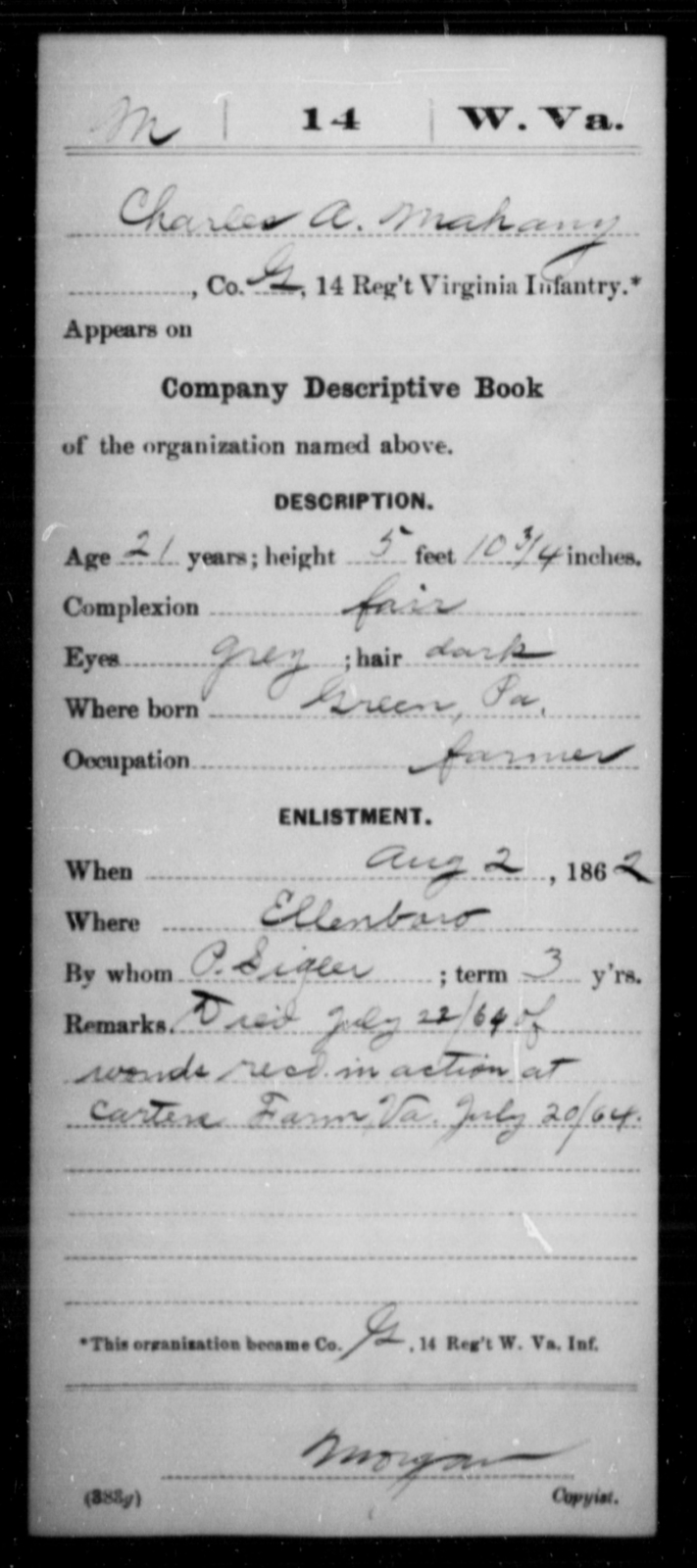Mahany, Charles A - Age 21, Year: 1862 - Miscellaneous Card Abstracts of Records - West Virginia