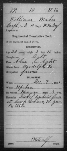 Maher, William - Age 20, Year: 1861 - Miscellaneous Card Abstracts of Records - West Virginia