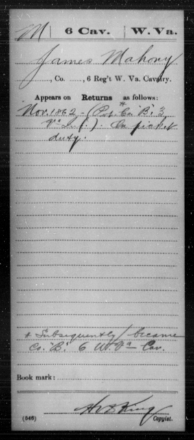 Mahony, James - Age [Blank], Year: 1862 - Miscellaneous Card Abstracts of Records - West Virginia