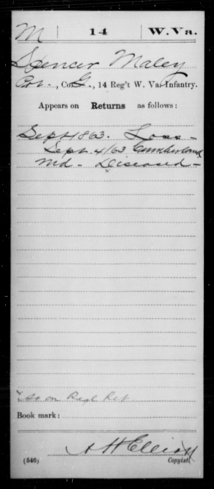 Maley, Spencer - Age [Blank], Year: 1863 - Miscellaneous Card Abstracts of Records - West Virginia