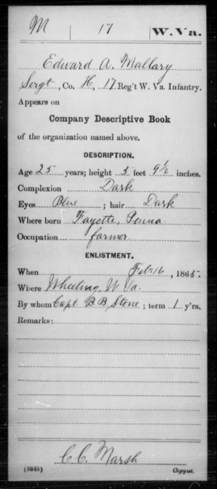 Mallary, Edward A - Age 25, Year: 1865 - Miscellaneous Card Abstracts of Records - West Virginia