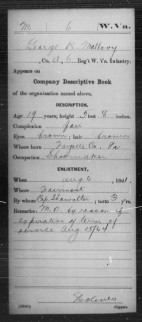 Mallovy, George R - Age 19, Year: 1861 - Miscellaneous Card Abstracts of Records - West Virginia