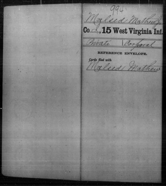Malsed, Mathew J - Age [Blank], Year: [Blank] - Fifteenth Infantry - West Virginia