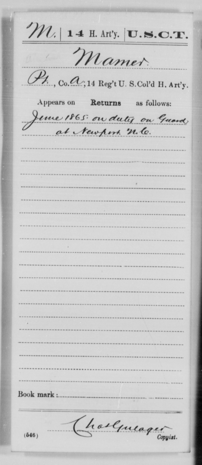 Mamer, [Blank] - Age [Blank], Year: 1865 - 14th US Colored Heavy Artillery, Wi-Y AND Misc Cards - United States Colored Troops: Artillery Organizations