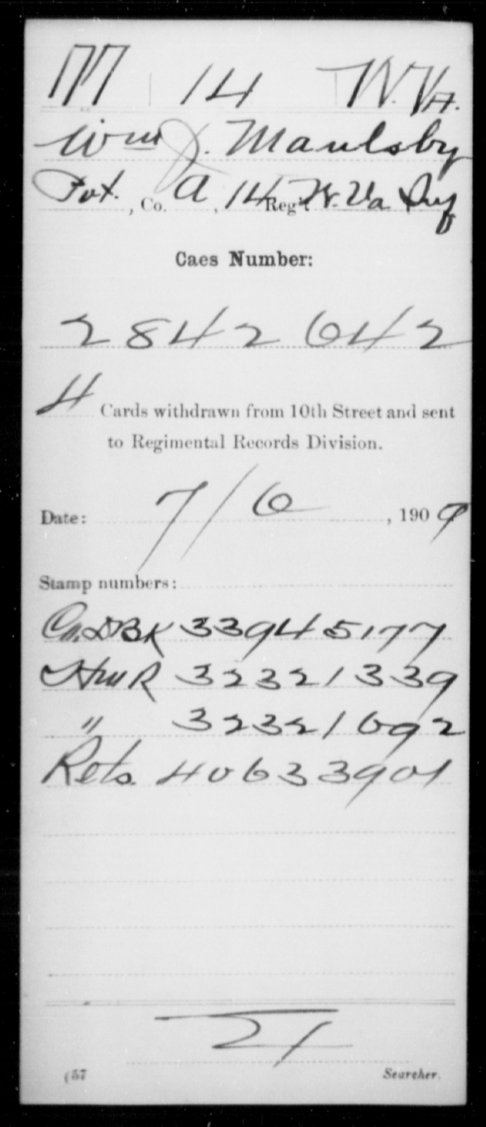 Manlsby, Wm J - Age [Blank], Year: [Blank] - Miscellaneous Card Abstracts of Records - West Virginia