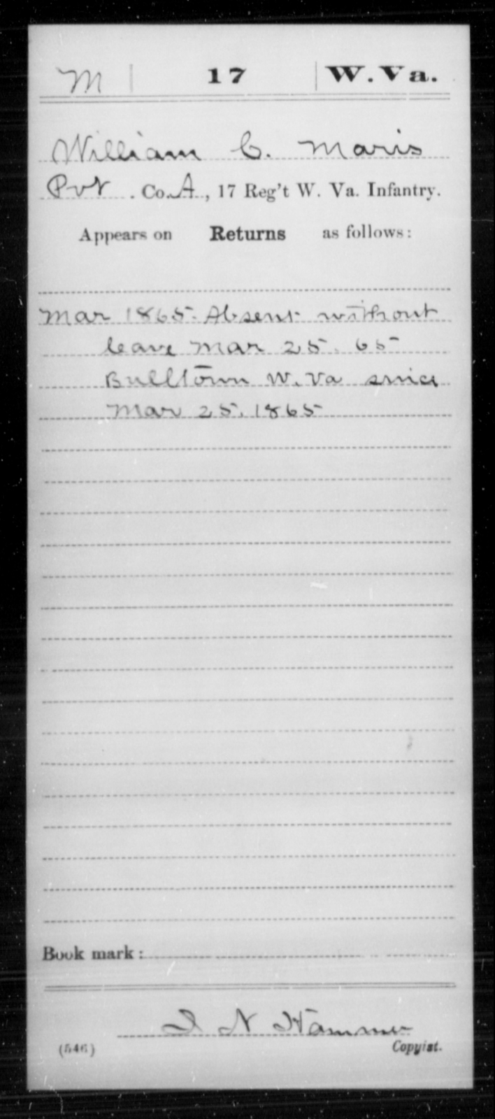 Maris, William C - Age [Blank], Year: 1865 - Miscellaneous Card Abstracts of Records - West Virginia