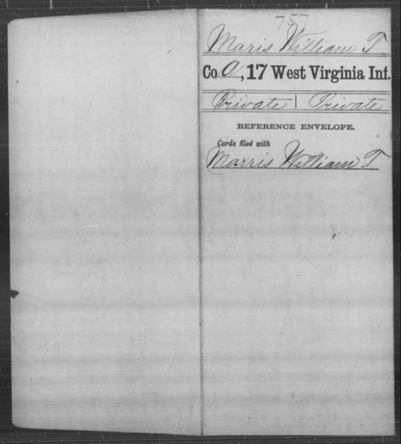 Maris, William T - Age [Blank], Year: [Blank] - Seventeenth Infantry - West Virginia