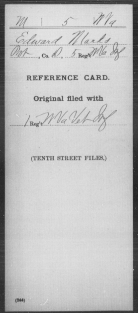 Marks, Edward - Age [Blank], Year: [Blank] - Miscellaneous Card Abstracts of Records - West Virginia