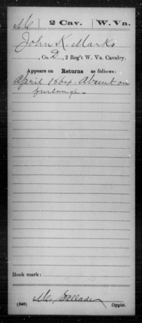 Marks, John K - Age [Blank], Year: 1864 - Miscellaneous Card Abstracts of Records - West Virginia