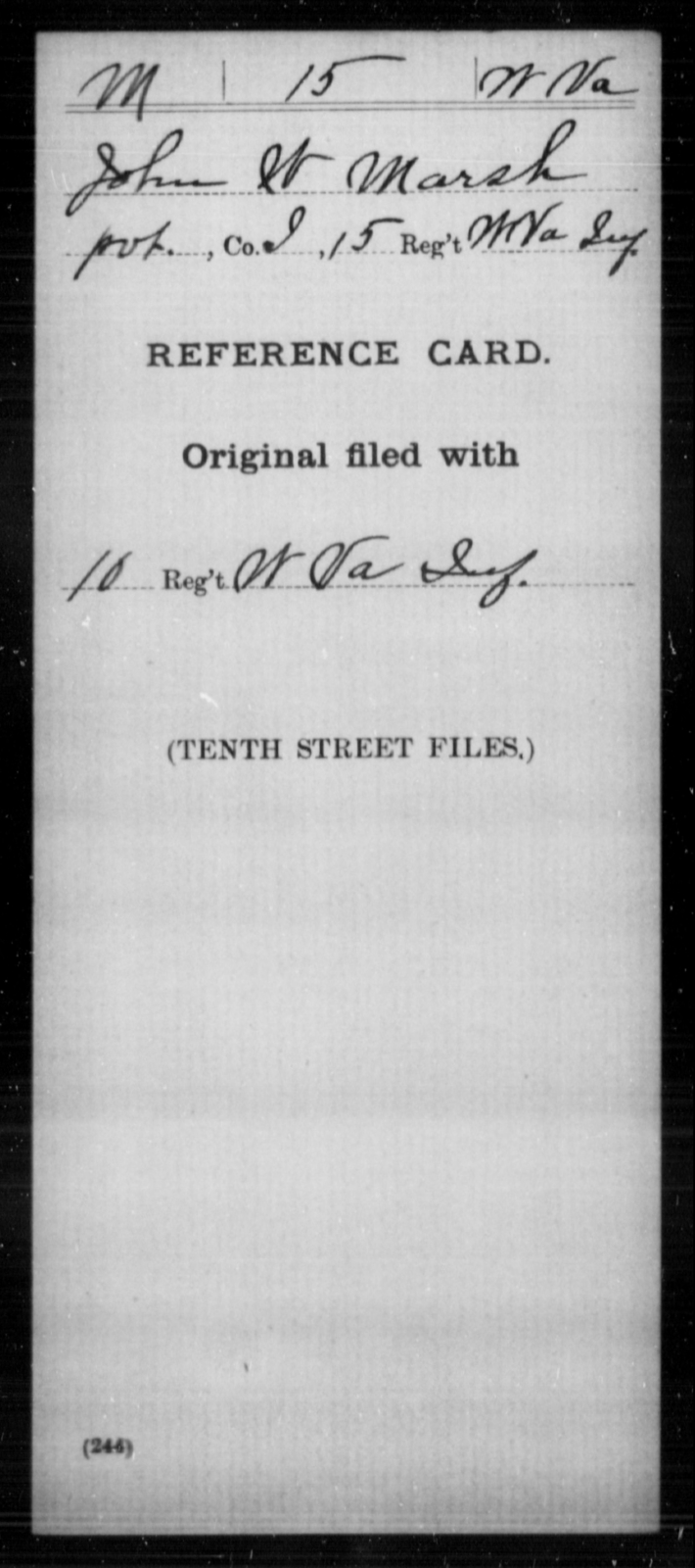 Marsh, John W - Age [Blank], Year: [Blank] - Miscellaneous Card Abstracts of Records - West Virginia
