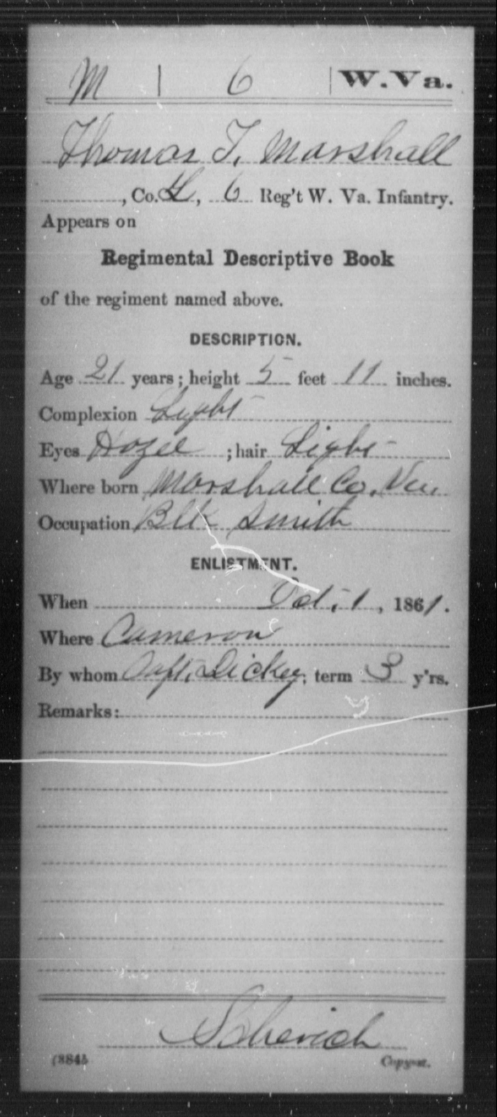 Marshall, Thomas T - Age 21, Year: 1861 - Miscellaneous Card Abstracts of Records - West Virginia
