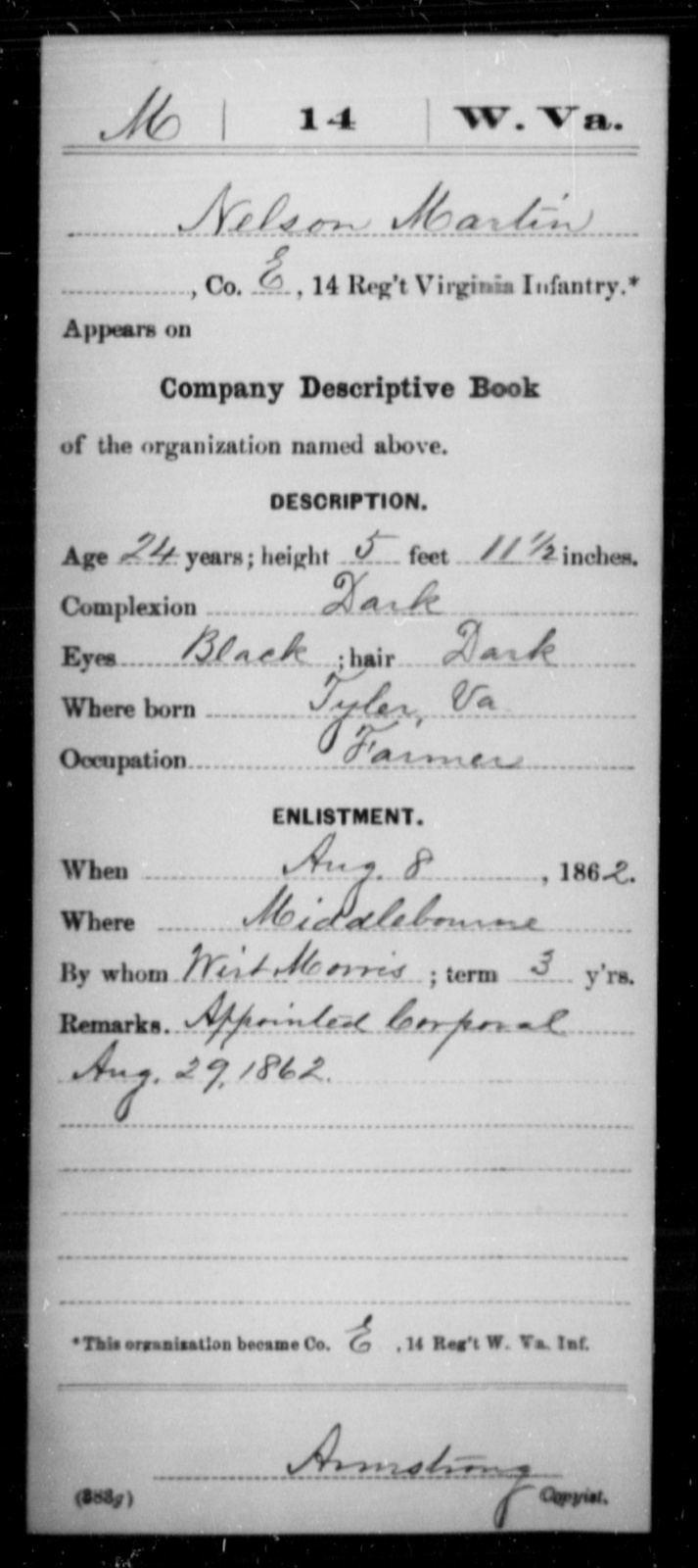 Martin, Nelson - Age 24, Year: 1862 - Miscellaneous Card Abstracts of Records - West Virginia