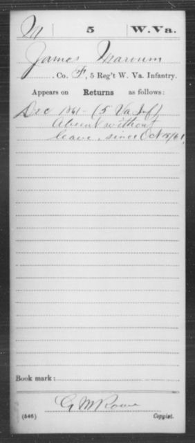 Marvum, James - Age [Blank], Year: 1861 - Miscellaneous Card Abstracts of Records - West Virginia