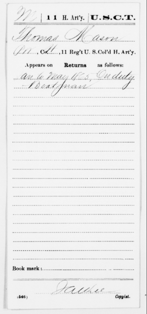 Mason, Thomas - Age [Blank], Year: 1865 - 11th US Colored Heavy Artillery, Misc Cards, E-Y - United States Colored Troops: Artillery Organizations