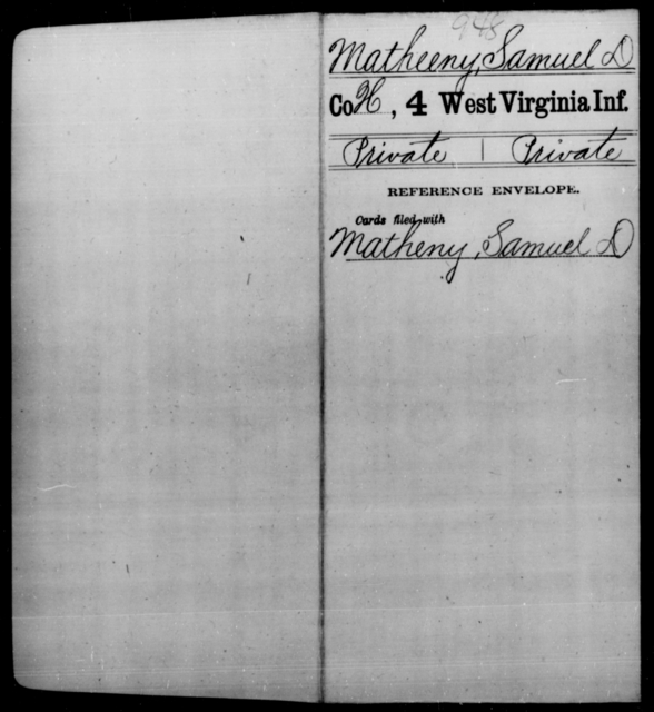 Matheeny, Samuel D - Age [Blank], Year: [Blank] - Fourth Infantry, Bo-Z - West Virginia