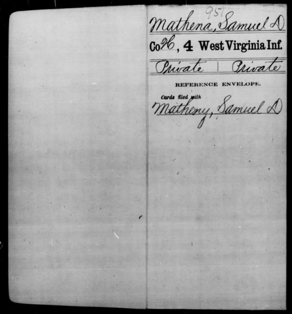 Mathena, Samuel D - Age [Blank], Year: [Blank] - Fourth Infantry, Bo-Z - West Virginia