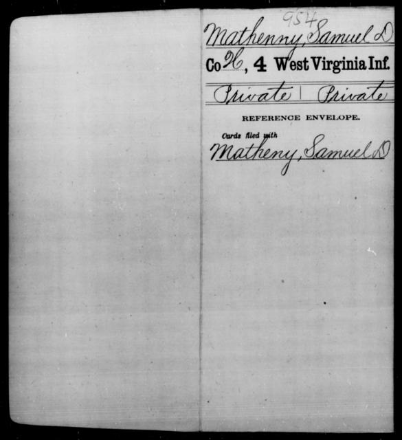 Mathenny, Samuel D - Age [Blank], Year: [Blank] - Fourth Infantry, Bo-Z - West Virginia
