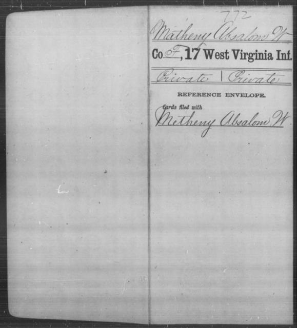 Matheny, Absalom W - Age [Blank], Year: [Blank] - Seventeenth Infantry - West Virginia