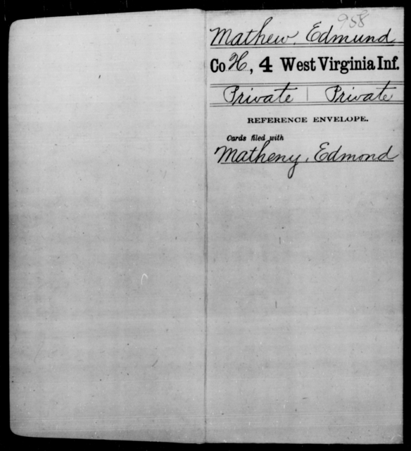 Mathew, Edmund - Age [Blank], Year: [Blank] - Fourth Infantry, Bo-Z - West Virginia