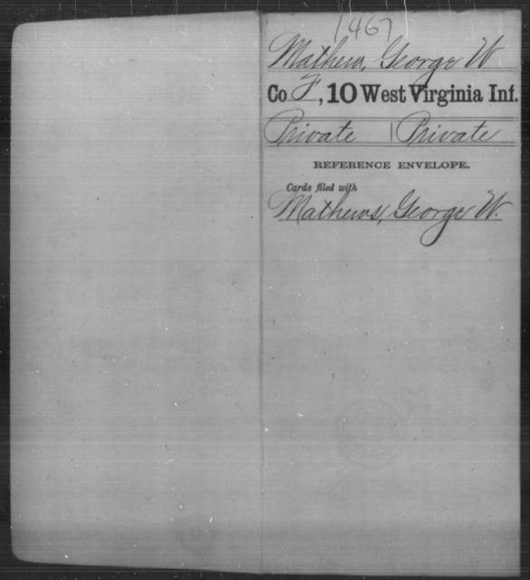 Mathew, George W - Age [Blank], Year: [Blank] - Tenth Infantry - West Virginia