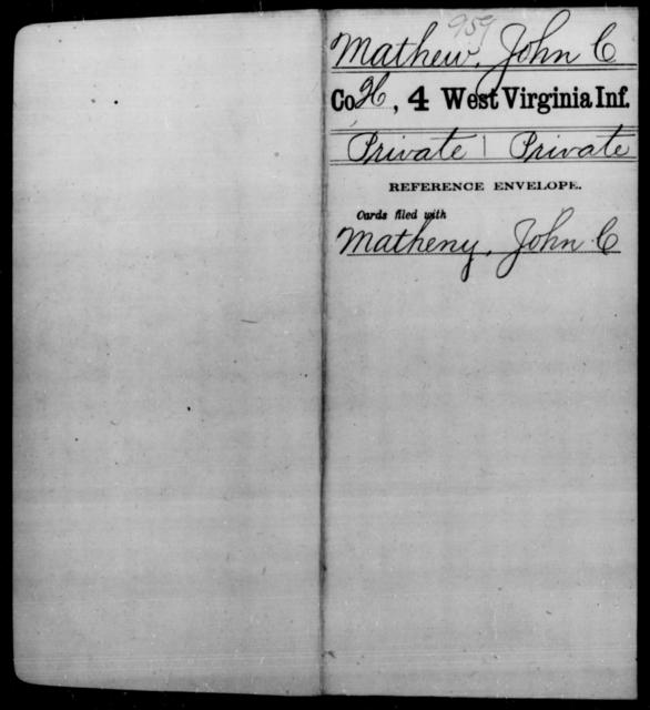 Mathew, John C - Age [Blank], Year: [Blank] - Fourth Infantry, Bo-Z - West Virginia