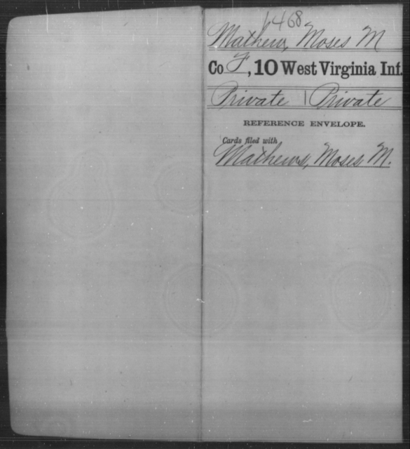 Mathew, Moses M - Age [Blank], Year: [Blank] - Tenth Infantry - West Virginia