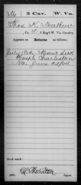 Mathew, Thos K - Age [Blank], Year: 1864 - Miscellaneous Card Abstracts of Records - West Virginia