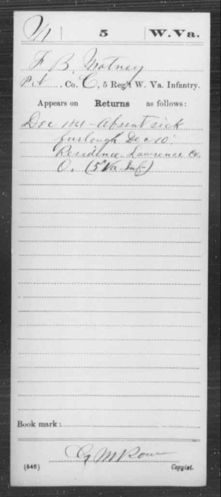 Matney, F B - Age [Blank], Year: 1861 - Miscellaneous Card Abstracts of Records - West Virginia