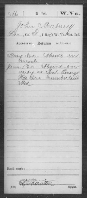 Matney, John - Age [Blank], Year: 1865 - Miscellaneous Card Abstracts of Records - West Virginia