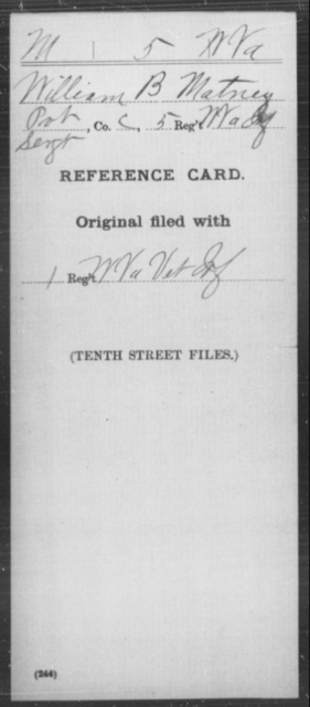Matney, William B - Age [Blank], Year: [Blank] - Miscellaneous Card Abstracts of Records - West Virginia