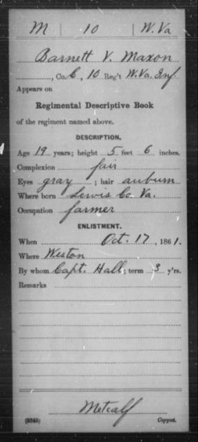 Maxon, Barnett V - Age 19, Year: 1861 - Miscellaneous Card Abstracts of Records - West Virginia