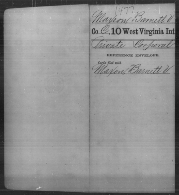 Maxson, Barnett V - Age [Blank], Year: [Blank] - Tenth Infantry - West Virginia